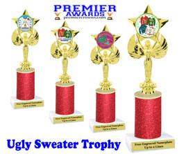 Ugly Sweater theme trophy. Add some bling to your Holiday Events with this Glitter column trophy.  7517-3