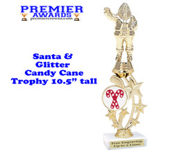Santa trophy with Glitter Candy Canes.  Great trophy for those Holiday Events, Pageants, Contests and more!