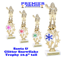 Santa trophy with Glitter Snowflake.  Great trophy for those Holiday Events, Pageants, Contests and more!