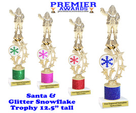 """Santa trophy with Glitter Snowflake.  Great trophy for those Holiday Events, Pageants, Contests and more!   12.5"""" tall"""