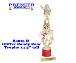 Santa trophy with Glitter Candy Canes and Glitter Column.  Great trophy for those Holiday Events, Pageants, Contests and more!
