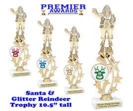 Santa trophy with Glitter Reindeer.  Great trophy for those Holiday Events, Pageants, Contests and more!