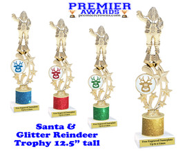 """Santa trophy with Glitter Reindeer.  Great trophy for those Holiday Events, Pageants, Contests and more!   12.5"""" tall"""