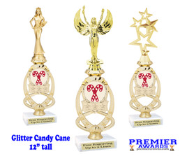 Candy Cane trophy with Glitter Candy Canes.  Great trophy for those Holiday Events, Pageants, Contests and more!