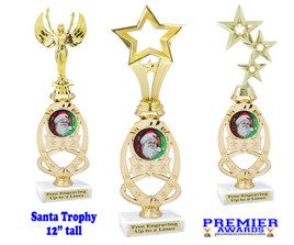 Santa trophy with Holographic Santa insert.  Great trophy for those Holiday Events, Pageants, Contests and more!