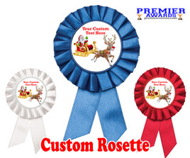 Custom Holiday theme Rosette.  Great award for you Holiday pageants, contests, parties, decorations and more