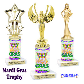 Mardi Gras Theme trophy.  Numerous figures available. Great trophy for your pageants, events, contests and more!   21-001
