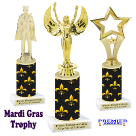 Mardi Gras Theme trophy.  Numerous figures available. Great trophy for your pageants, events, contests and more!   21-002