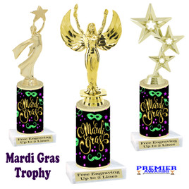 Mardi Gras Theme trophy.  Numerous figures available. Great trophy for your pageants, events, contests and more!   21-003