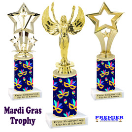 Mardi Gras Theme trophy.  Numerous figures available. Great trophy for your pageants, events, contests and more!   21-004