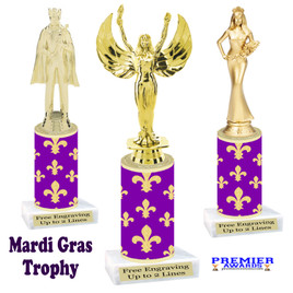 Mardi Gras Theme trophy.  Numerous figures available. Great trophy for your pageants, events, contests and more!   21-005