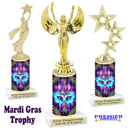 Mardi Gras Theme trophy.  Numerous figures available. Great trophy for your pageants, events, contests and more!   21-007
