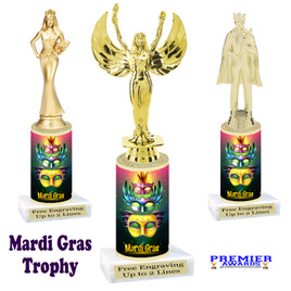 Mardi Gras Theme trophy.  Numerous figures available. Great trophy for your pageants, events, contests and more!   21-008