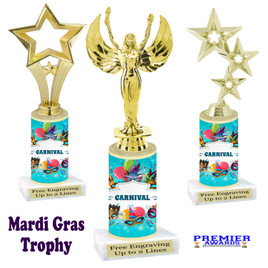 Mardi Gras Theme trophy.  Numerous figures available. Great trophy for your pageants, events, contests and more!   21-009