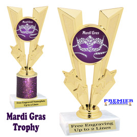 Mardi Gras Theme trophy.  Great trophy for your pageants, events, contests and more!   Gl-003