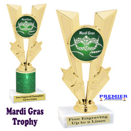 Mardi Gras Theme trophy.  Great trophy for your pageants, events, contests and more!   Gl-004