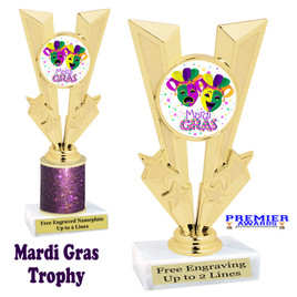 Mardi Gras Theme trophy.  Great trophy for your pageants, events, contests and more!   Gl-005