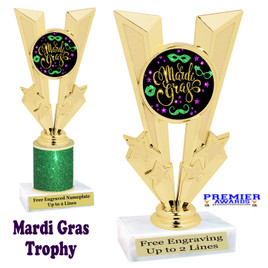 Mardi Gras Theme trophy.  Great trophy for your pageants, events, contests and more!   Gl-006