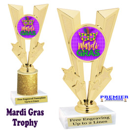 Mardi Gras Theme trophy.  Great trophy for your pageants, events, contests and more!   Gl-007