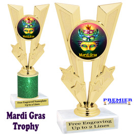 Mardi Gras Theme trophy.  Great trophy for your pageants, events, contests and more!   Gl-008
