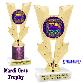 Mardi Gras Theme trophy.  Great trophy for your pageants, events, contests and more!   Gl-009