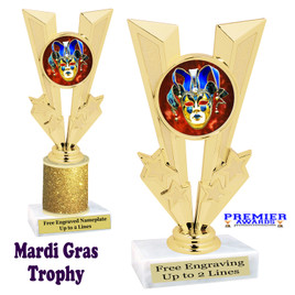 Mardi Gras Theme trophy.  Great trophy for your pageants, events, contests and more!   Gl-010