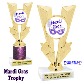Mardi Gras Theme trophy.  Great trophy for your pageants, events, contests and more!   Gl-011