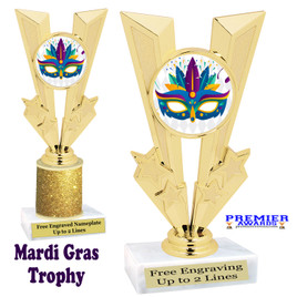 Mardi Gras Theme trophy.  Great trophy for your pageants, events, contests and more!   Gl-012