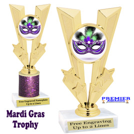 Mardi Gras Theme trophy.  Great trophy for your pageants, events, contests and more!   Gl-013