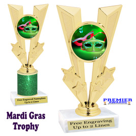 Mardi Gras Theme trophy.  Great trophy for your pageants, events, contests and more!   Gl-014