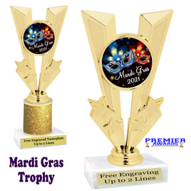 Mardi Gras Theme trophy.  Great trophy for your pageants, events, contests and more!   Gl-015