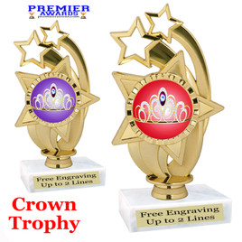 Crown Theme trophy.  Great trophy for your pageants, events, contests and more!   ph55