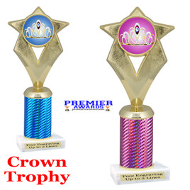 Crown Theme trophy.  Great trophy for your pageants, events, contests and more!   1 Column.  5086g