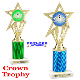 Crown Theme trophy.  Great trophy for your pageants, events, contests and more!   1 Column.  ph30