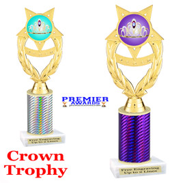 Crown Theme trophy.  Great trophy for your pageants, events, contests and more!   1 Column.  ph97