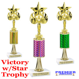 Victory with Star  trophy.  Great trophy for your pageants, events, contests and more!   1 Column w/stem..
