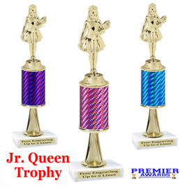 Jr. Queen  trophy.  Great trophy for your pageants, events, contests and more!   1 Column w/stem..