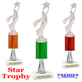 Modern Victory with Star  trophy.  Great trophy for your pageants, events, contests and more!   1 Column w/stem.. 5087s