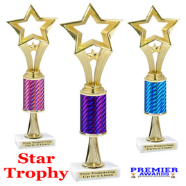 Star  trophy.  Great trophy for your pageants, events, contests and more!   1 Column w/stem..90506
