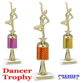 Dance Trophy.  Great trophy for your pageants, events, contests and more!   1 Column w/stem.. 664-g