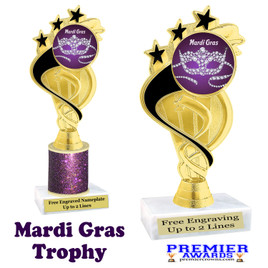 Mardi Gras Theme trophy.  Great trophy for your pageants, events, contests and more!   ph106 - 001