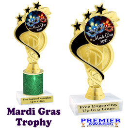 Mardi Gras Theme trophy.  Great trophy for your pageants, events, contests and more!   ph106 - 002
