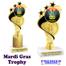 Mardi Gras Theme trophy.  Great trophy for your pageants, events, contests and more!   ph106 - 003