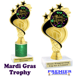 Mardi Gras Theme trophy.  Great trophy for your pageants, events, contests and more!   ph106 - 004