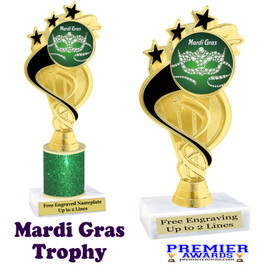 Mardi Gras Theme trophy.  Great trophy for your pageants, events, contests and more!   ph106 - 005