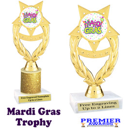 Mardi Gras Theme trophy.  Great trophy for your pageants, events, contests and more!   ph97-001