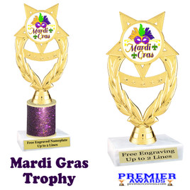 Mardi Gras Theme trophy.  Great trophy for your pageants, events, contests and more!   ph97-002
