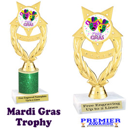 Mardi Gras Theme trophy.  Great trophy for your pageants, events, contests and more!   ph97-003