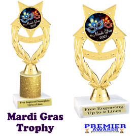 Mardi Gras Theme trophy.  Great trophy for your pageants, events, contests and more!   ph97-005