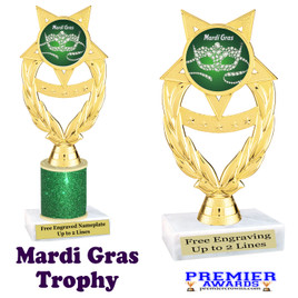 Mardi Gras Theme trophy.  Great trophy for your pageants, events, contests and more!   ph97-006